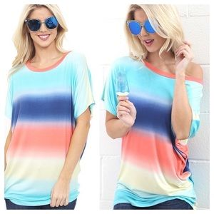 BACKORDER Multi Color Tee On or Off Shoulder Top